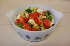 One of my favorite #Vintage #Pyrex dishes in use: theworldaccordingtoeggface: Post Weight Loss Surgery Menus: Shelly's Mexican Caprese Salad #Salad #Avocado