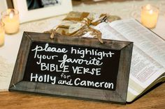 What a #Sweet way to incorporate your #faith into a #Christianwedding: Ask your #weddingguests to #highlight their #favoritebibleverse! ::Holly + Cameron's gorgeous wedding at Mint Springs Farms in Nolensville, Tennessee:: #bible #weddingbible #christianweddingideas #weddingideas #christianguestbook #southernwedding #christians #wedding #chalkboardsign