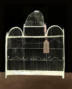 Birdcage illustrated by Clare Owen shabby chic, bird cage, birdcag, art, antiqu, birds, illustr, print, clare owen