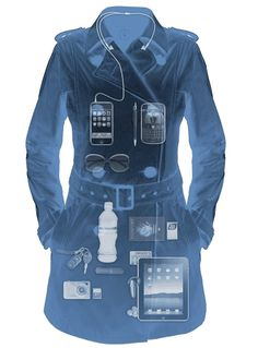 (via @Linda Boden) Women's Trench Coat from SeV: Deeply Entrenched in the Digital World. Fashion-forward trench coat with 18 pockets for all your gadgets ... you should really read the description on the site. The coat is black, by the way. I pinned the X-ray view. $149.99