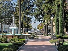 Old Towne Orange - restaurants, antique shops and fountain.