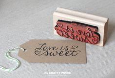 Love Is Sweet rubber stamp - wedding favor stamp DIY. $18.00, via Etsy.