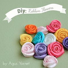 A video tutorial of how to make this pretty little ribbon flowers, perfect for any craft project! (in English and Spanish) #craftgawker