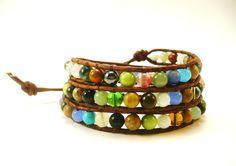 Chan Luu Inspired Wrap Bracelet, Triple Wrap Bracelet, Mixed Semi-Precious Stones, Earth Tone Beaded Wrap Bracelet, Summer Jewelry. $45.00, via Etsy.