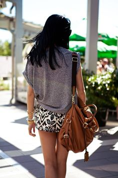 Slouchy tops and short skirts