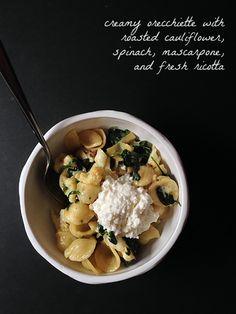 Sunday Pasta -  Creamy, Cheesy Orecchiette with Roasted Cauliflower and Spinach
