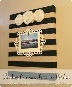 pictur holder, feel crafti, canva pictur, crafti stuff, burlap canvas, crafti sister, canvas pictures, diy home decor pictures burlap, canvases