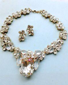Rhinestone Wedding Necklace Earring Set by CrimsonVintique on Etsy, $225.00