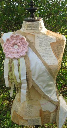 Marianna Paper Mache Dress Form with Sash by missmollycottage