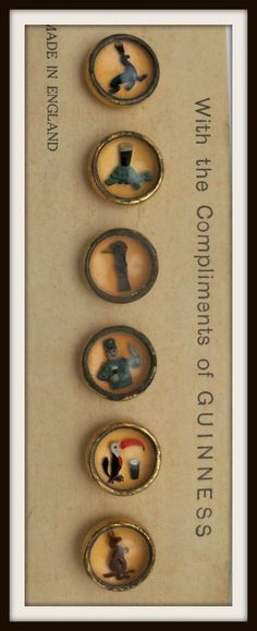ButtonArtMuseum.com - Set of Waistcoat Guinness Buttons from womansworld