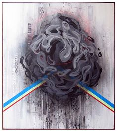 Hidden - house paint, spray paint and pencil on panel - artwork by Erik Otto