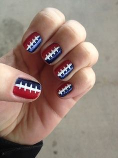 Football nails but in bright green and navy blue :) R