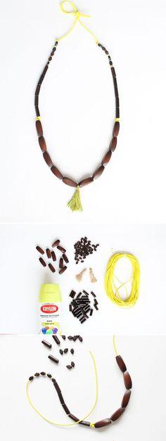 DIY Wood Tassel Necklace