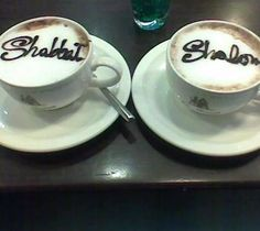#cappuccino - Shabbat Shalom! Fun idea to include in e-book about home #Shabbat celebrations. Question: but what do you draw the Shabbat Shalom with?