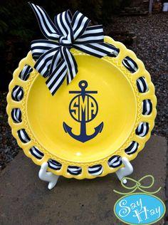 Monogram Ribbon Yellow 9 inch Ceramic Plate Personalized. $28.00, via Etsy.