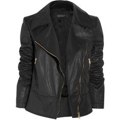 Gucci Coated cotton-blend biker jacket ($1,195) ❤ liked on Polyvore