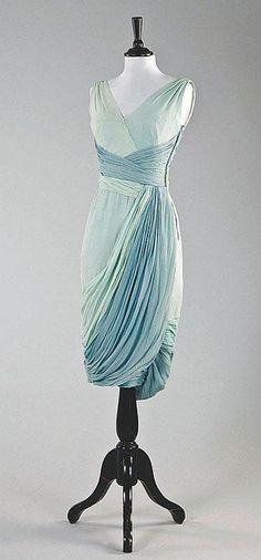 A Jean Dessès draped chiffon cocktail gown, late 1950s