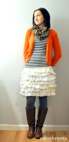 DIY ruffle skirt out of old t shirts.
