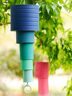 Garden chimes made from upcycled cans.