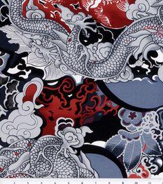 Keepsake Calico Fabric-Tatsu Black/Red
