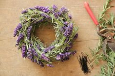 How To Make A Lavender Wreath - made using a grapevine wreath base  sprigs of rosemary.