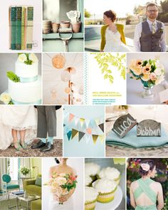 Dear Evie inspiration board 18 #wedding #inspiration #fern #aqua #peach