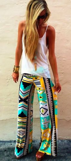 vacation outfits, summer pants outfit, colorful pants outfit, tribal pants outfit