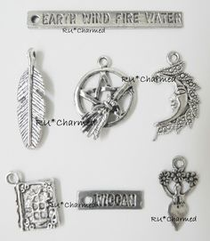 7pcs PaGaN - Wiccan Charm Mix - Earth Wind Fire Water - Goddess of the Earth. $6.75, via Etsy.