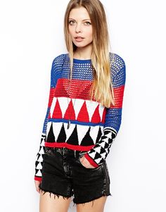 Loving the colorwork and the combo of filet crochet and plain ol' dc in this ASOS sweater