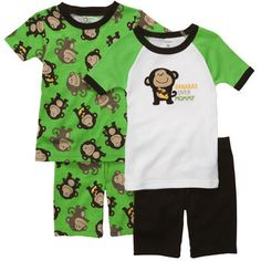Snug-Fit Cotton 4-Piece Pjs Bananas over mommy (BOYS)