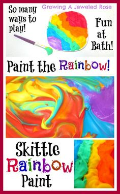 Skittle Scented Rainbow Bath Paint! These swirling rainbow peaks smell AMAZING!