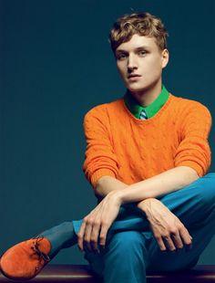 MENSWEAR: orange shoes + orange sweater men style fashion