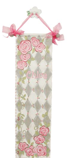 Gray rose growth chart adds charm to your little girls nursery!