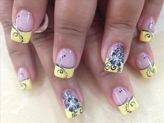 yellow flowers, spring nails, flower nails, swirl, nail designs, nail arts, summer nails, black flowers, french tips
