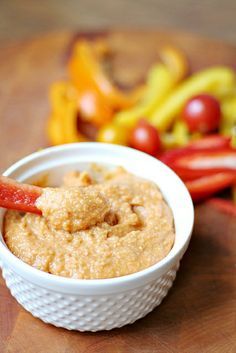 Roasted Red Pepper Spicy Hummus by Heather| French Press