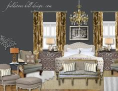 a sultry and soothing Master Bedroom, inspired by mixed metals. gold, brass, silver, antiqued metals and pewters, oh my.