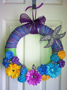 Spring/Easter Yarn Wreath by TheWrapperyIN on Etsy, $30.00