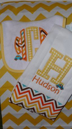 Baby Boys Monogrammed Bib and Burp Cloth with Car. $18.00, via Etsy. love! (I could make something like this)