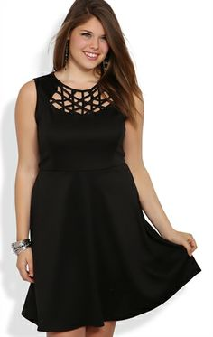 Plus Size Skater Dress with Latice Neckline