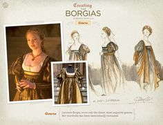 Lucrezia Borgia wore only the finest, most exquisite gowns. Her wardrobe has been meticulously recreated. fashion history, borgia costum, italian renaissance, costum design, borgiasfashionjpg 736566, the borgias, renaiss costum, dress designs, borgia fashion