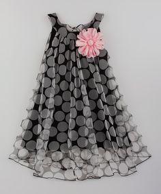 Black & Pink Flower Swing Dress - Toddler & Girls
