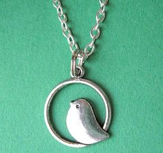 SILVER BIRDIE NECKLACE  by MimiJewels on Etsy, $17.00