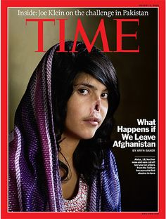 It is a portrait of Aisha, an 18-year-old Afghani girl, taken by Jodi Bieber. Aisha was sentenced by a Taliban commander to have her nose and ears cut off for fleeing her abusive in-laws.