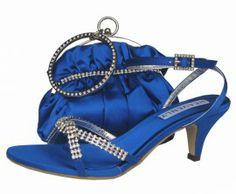Low Heel Royal Blue Evening Sandals  #eveningshoes # weddingshoes #ladiesshoes #heels