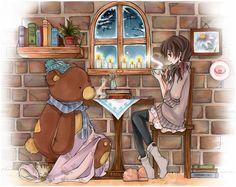 coffe corner, art stuff, tea parti, cartoongirl7 winter, coffe art, coffee, anim cartoon, anim art, illustr