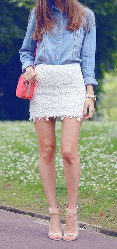 Chambray + lace
