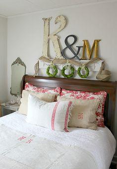 decor, beds, big letters, monogram, fireplace mantels, old letters, bedrooms, vintage linen, vintage inspired