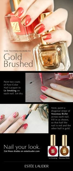 Nail Techniques How-To: Gold Brushed #manimonday