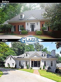 Before and after photo of exterior Atlanta home renovation. Let http://Contractors4you.com Find your contractor fast Use our free service-Also free leads for contractors