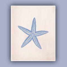 Blue Starfish Print  Sea Star 8x10 print  Marine Wall by AlgaNet, $13.50